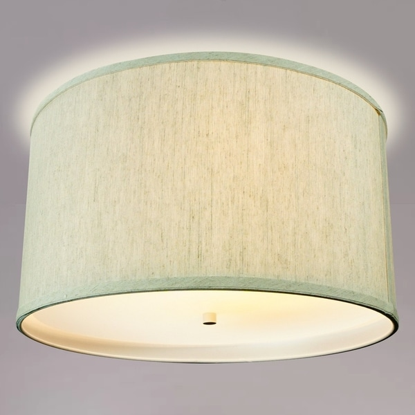 "16"" Moderne Flush Mount Converter Kit Textured Oatmeal Hardback Drum Lampshade 16x16x8"