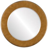 Avenue Framed Round Mirror in Burnished Gold - Antique Gold