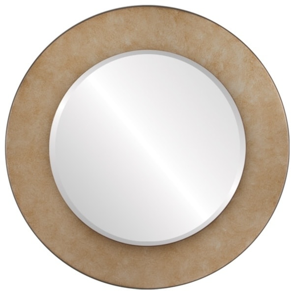 Cafe Framed Round Mirror in Burnished Silver - Antique Silver