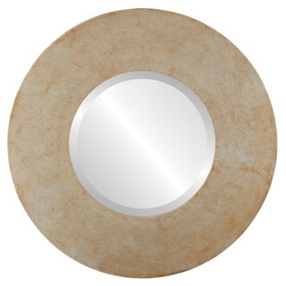 Tribeca Framed Round Mirror in Burnished Silver - Antique Silver
