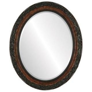 Rome Framed Oval Mirror in Burlwood - Antique Brown