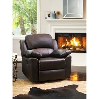 Abbyson Westwood Brown Top Grain Leather Reclining Armchair
