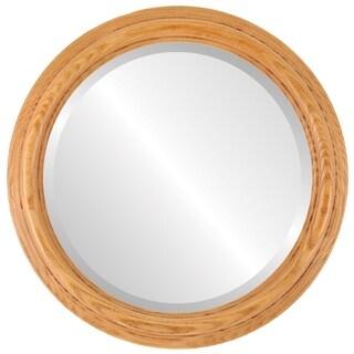 Melbourne Framed Round Mirror in Carmel - Amber