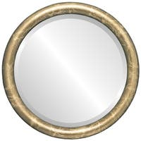 Pasadena Framed Round Mirror in Champagne Gold - Antique Gold