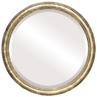 Saratoga Framed Round Mirror in Champagne Gold - Antique Gold