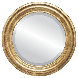Philadelphia Framed Round Mirror in Champagne Gold - Antique Gold