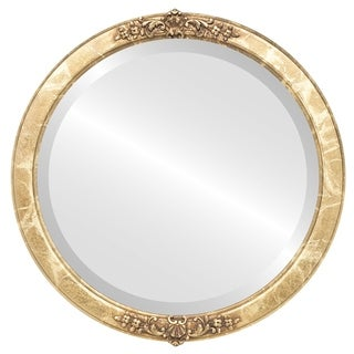 Athena Framed Round Mirror in Champagne Gold - Antique Gold