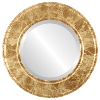 Montreal Framed Round Mirror in Champagne Gold - Antique Gold