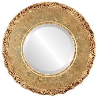 Williamsburg Framed Round Mirror in Champagne Gold - Antique Gold