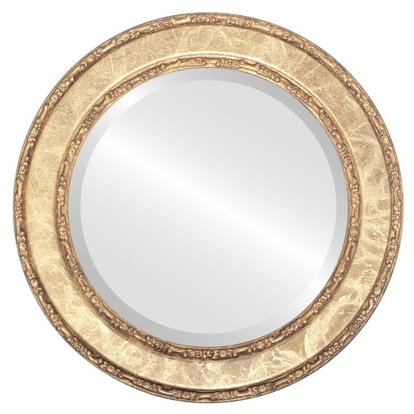 Shop Monticello Framed Round Mirror in Champagne Gold - Antique Gold ...