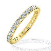 Amore 14KT Yellow Gold 1CT TDW Diamond Eternity Ring With Flat Sides