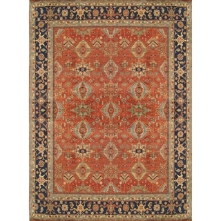 "Mahal Rust/Navy Hand-Knotted Lamb's Wool Area Rug (9' 0"" X 12' 1"") - 9' x 12'"