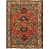 "Pasargad Serapi Hand-Knotted Rust/Ivory Wool Rug (10' 0"" X 14' 0"") - 10' x 14'"