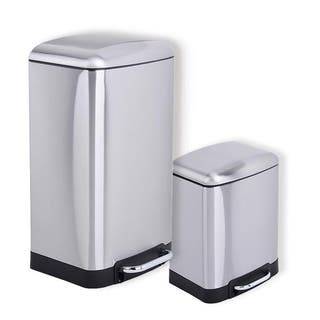Rikki 2 Piece Stainless Steel Trash Can Set (30L plus 6L step can)