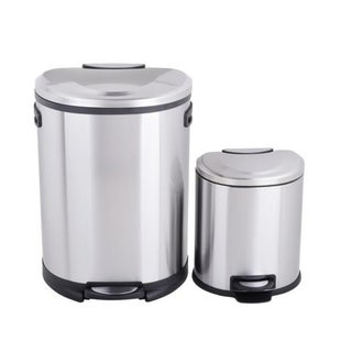 Cress Contour Curved Stainless Steel Trash Can (50 L, 13.2 Gal) with Bonus 6L Trash Can