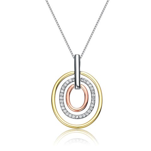 Collette Z Tri Colored Plating Clear Cubic Zirconia Three Halo Pendant Necklace