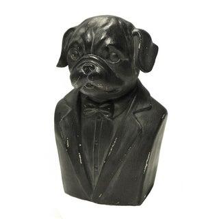 Sagebrook Home DOG GENTLEMAN BUST FIGURINE, BLACK