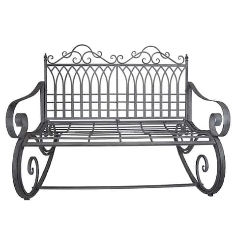 Outdoor and Indoor Rocking Bench Loveseat in Antique Grey