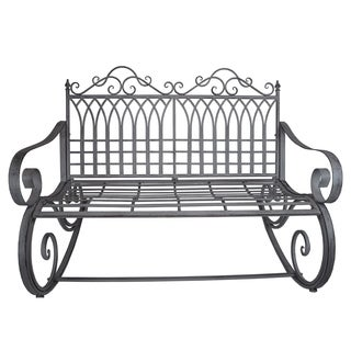Outdoor and Indoor Rocking Bench Loveseat in Antique Grey