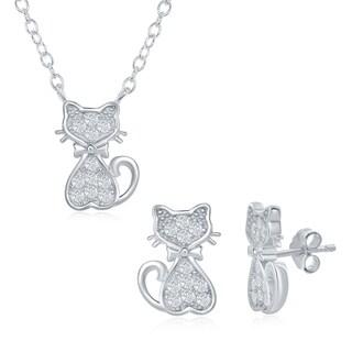 La Preciosa Sterling Silver Children's Dainty Cubic Zirconia Cat 14+2'' Necklace & Earrings Set
