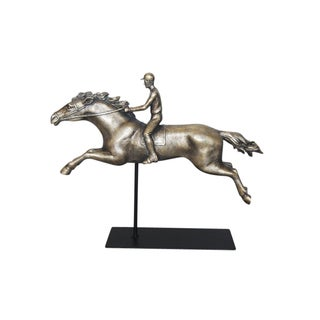 Sagebrook Home RESIN JOCKEY ON HORSE FIGURINE, ANTIQUE SILVER