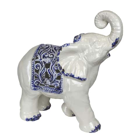 Sagebrook Home ELEPHANT FIGURINE, WHITE /BLUE