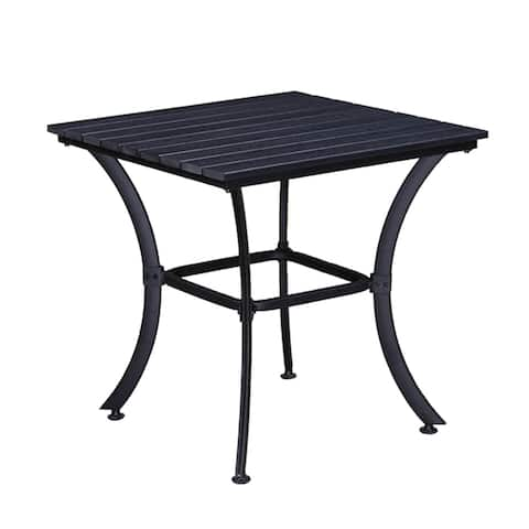 Indoor and Outdoor Square Faux Wood Slatted 25 Inch Black Dining Table