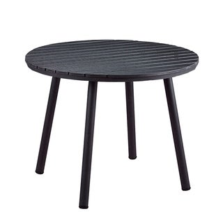 Indoor and Outdoor Round Faux Wood Slatted 39 Inch Black Dining Table