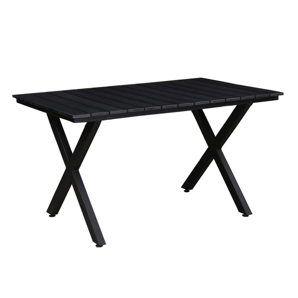 Indoor and Outdoor Rectangular Faux Wood Slatted 51 Inch Black Table