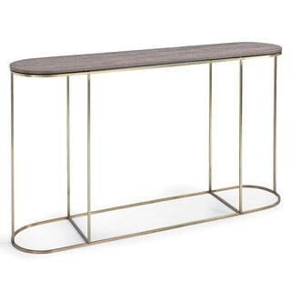 Regina Andrew Design Tryptic Vintage Brown Brass Shagreen Console