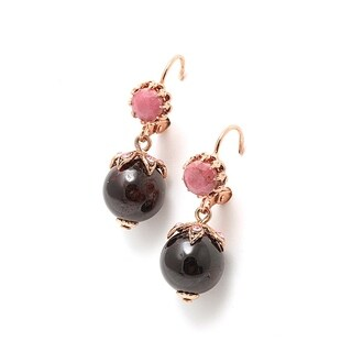 """Amaro """"Burgundy"""" Collection 24K Rose Gold Plated Dangle Earrings - Pink"""