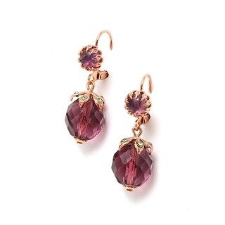 "Amaro ""Spring Vibration"" Collection 24K Rose Gold Plated Amethyst Earrings"