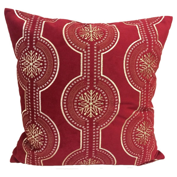 Rich Red Holiday Poly Velvet 20inch Throw Pillow with Exquisite Embroidered Gold and White Snow Flake Pattern