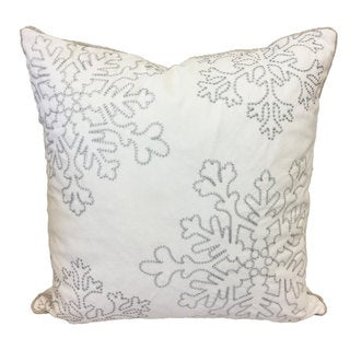 Silver Snow Flakes Embroidered Holiday Poly Velvet 20 inch Throw Pillow