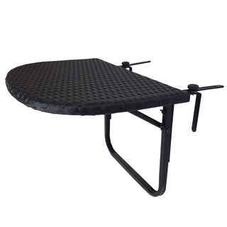Black Indoor and Outdoor Wicker Balcony Table with Adjustable Clamps