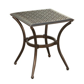 Indoor and Outdoor Black Square 19 inch Side Table with Feet Glides