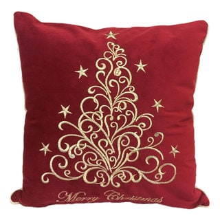 Happy Holidays Fancy Gold Embroidered  Velvet Feather or Poly Filled Throw Pillow