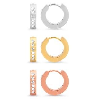 Piatella Ladies Set of 3 Stainless Steel Earrings with Cubic Zirconia