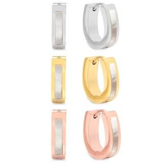 Piatella Ladies Set of 3 Stainless Steel Oval Mother of Pearl Earrings
