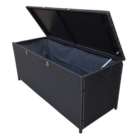 Indoor and Outdoor 113 Gallon Wicker Storage Bin with Metal Frame