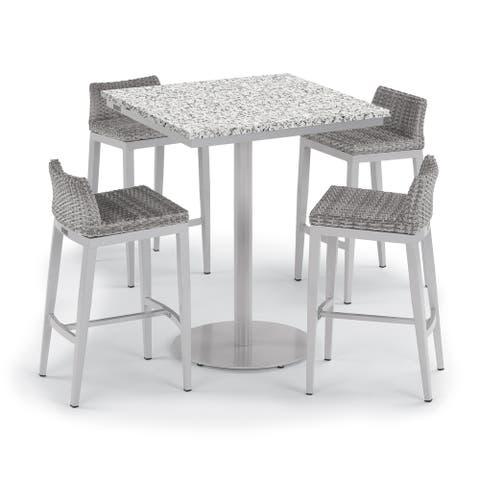 Oxford Garden Travira 5-piece 36-inch Lite-Core Ash Square Bar Table & Argento Resin Wicker Side Rails Bar Stool Set
