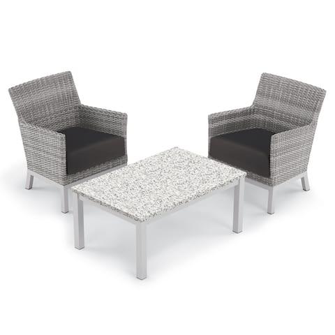 Oxford Garden Argento 3-piece Resin Wicker Club Chair & Travira Lite-Core Ash Coffee Table Set - Jet Black Cushions
