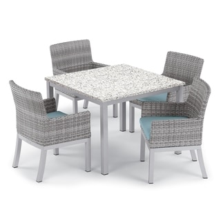 Oxford Garden Travira 5-piece 39-inch Lite-Core Ash Dining Table & Argento Resin Wicker Armchair Set - Ice Blue Cushions