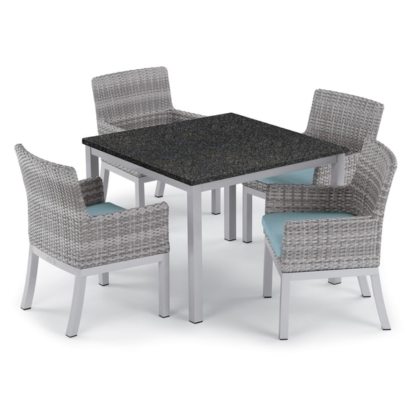 Oxford Garden Travira 5-piece 39-inch Lite-Core Dining Table & Argento Resin Wicker Armchair Set - Ice Blue Cushions