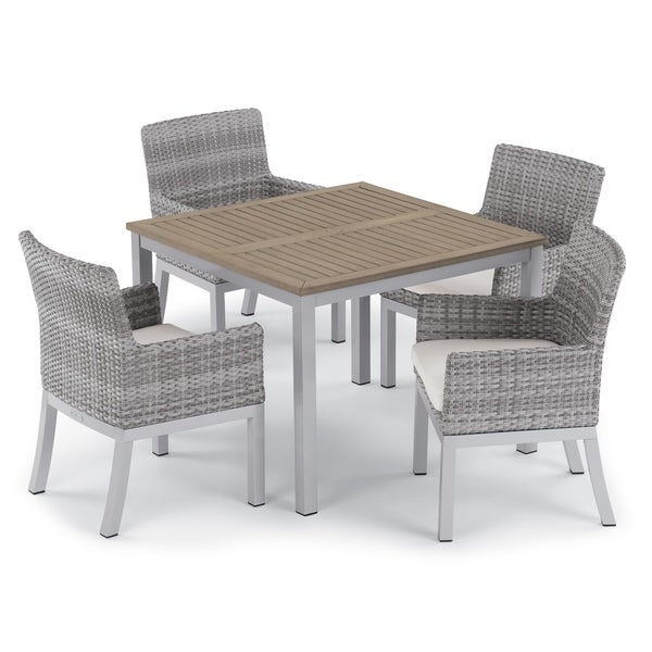 Oxford Garden Travira 5-piece 39-inch Tekwood Vintage Dining Table & Argento Resin Wicker Armchair Set - Eggshell White Cushions