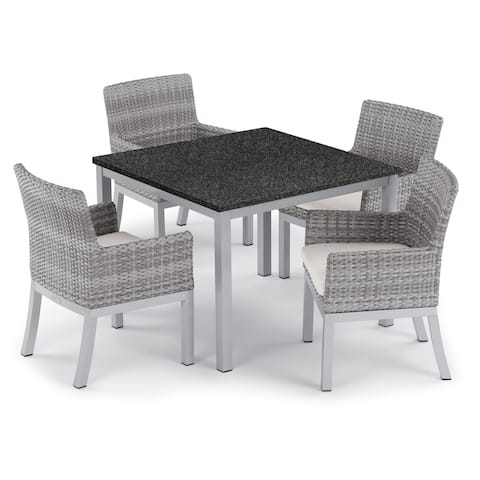Oxford Garden Travira 5-piece 39-inch Lite-Core Dining Table & Argento Resin Wicker Armchair Set - Eggshell White Cushions