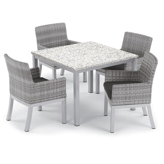 Oxford Garden Travira 5-piece 39-inch Lite-Core Ash Dining Table & Argento Resin Wicker Armchair Set - Jet Black Cushions