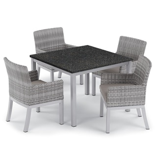 Oxford Garden Travira 5-piece 39-inch Lite-Core Dining Table & Argento Resin Wicker Armchair Set - Stone Cushions