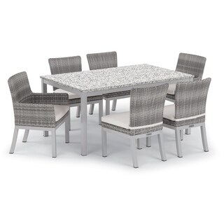 Oxford Garden Travira 7-piece 63-in x 40-in Lite-Core Table & Argento Resin Wicker Arm & Side Chair Set - Eggshell White Cushion