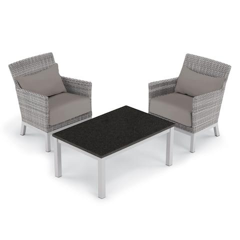 Oxford Garden Argento 3-piece Resin Wicker Club Chair & Travira Lite-Core Coffee Table Set - Stone Cushion & Pillow